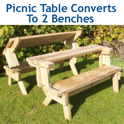 How To Make A Wood Picnic Table That Converts To Two Benches ...