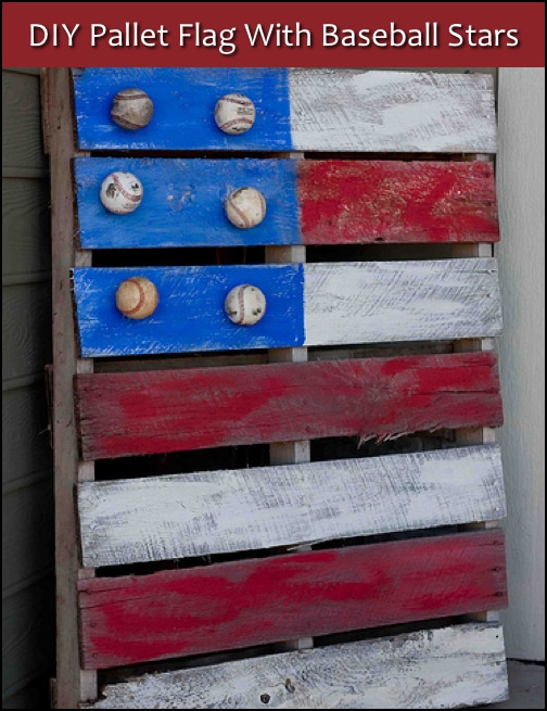 Pallet Flag With Baseball Stars