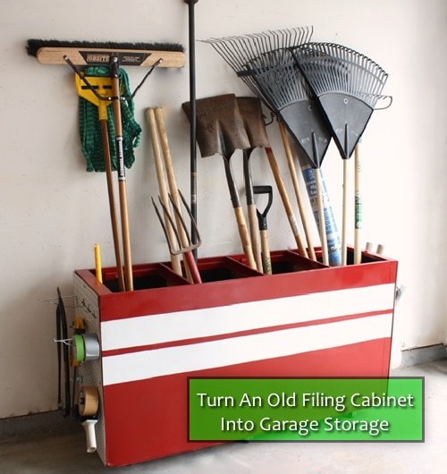 Recycle Filing Cabinet Into Garage Storage