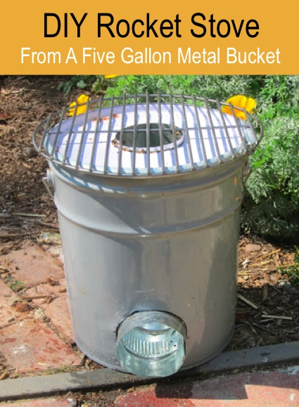 diy rocket stove from a five gallon metal bucket