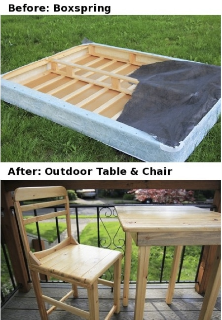 How To Repurpose A Box Spring Into A Table And Chair