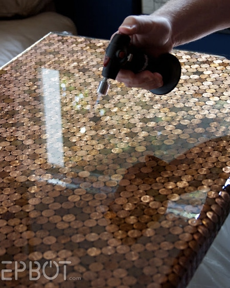 How To Make A Penny Tiled Desk