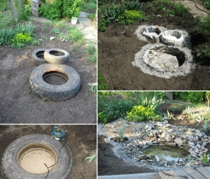 How To Make A Garden Pond From Old Tires