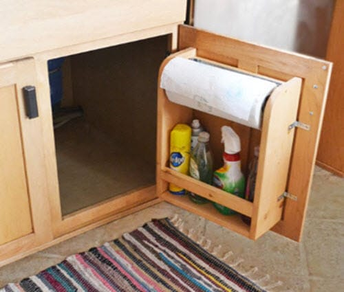 How to make kitchen cabinet door organizer paper towel Diy under counter storage