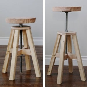 How To Build An Adjustable Height Wood And Metal Stool