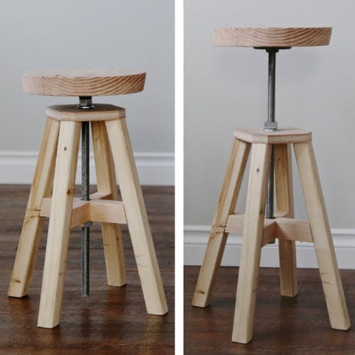 How-To-Build-An-Adjustable-Height-Wood-And-Metal-Stool