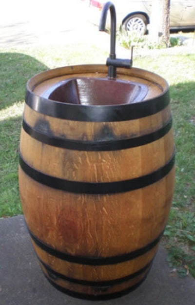 Turn-A-Wine-Barrel-Into-An-Outdoor-Sink