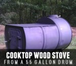 55 Gallon Drum Transformed Into A Cooktop Wood Stove