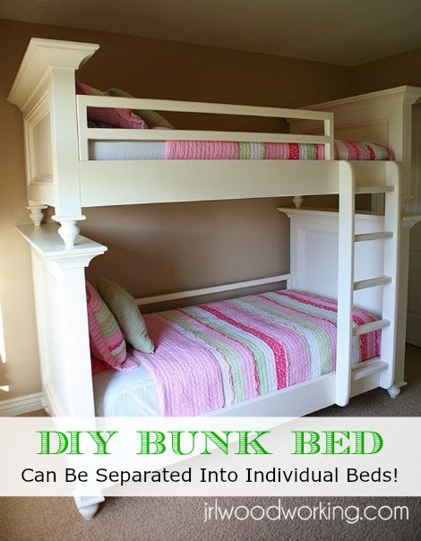Lovely DIY Twin Over Twin Flat Panel Bunk Bed Can Be Separated Into Individual