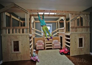 DIY Basement Indoor Playground With Monkey Bars