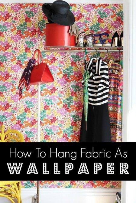 hang-fabric-as-wallpaper