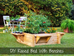 DIY Raised Bed With Benches