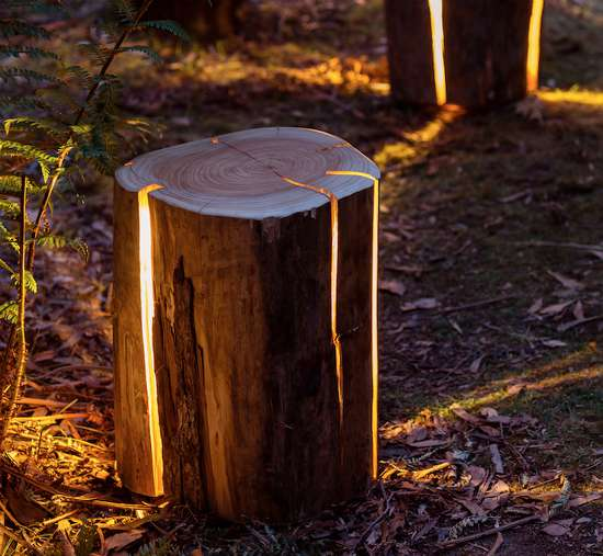 diy illuminated tree stumps