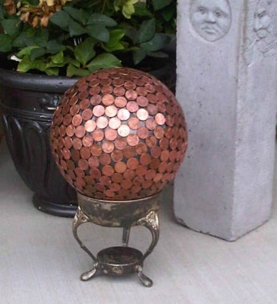 bowling-ball-yard-art-ways-to-repurpose-pennies