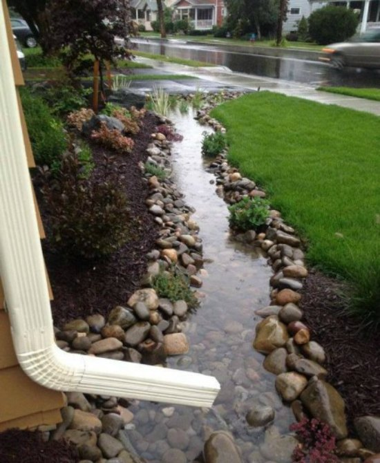 diy-front-yard-creek-diy-downspout-ideas