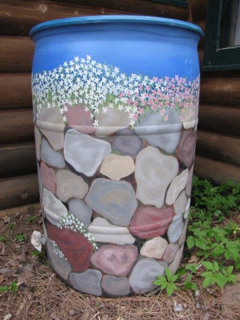 painted-rocks-beautify-your-rain-catchment-barrels