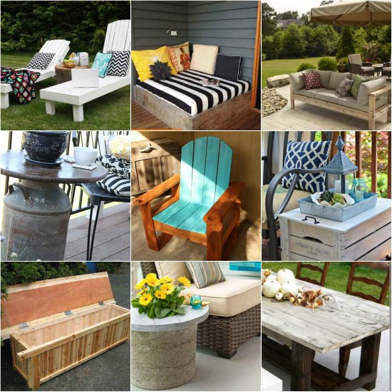 18 diy patio furniture ideas for an outdoor oasis for Patio furniture pictures ideas