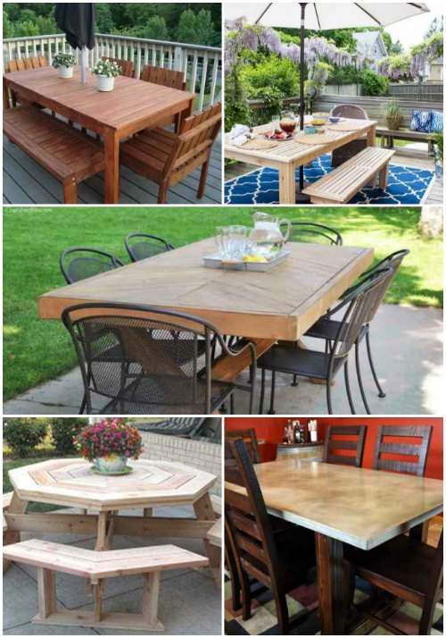 18 diy outdoor dining room tables for Diy garden room