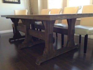 Triple Pedestal Wide Farmhouse Table DIY