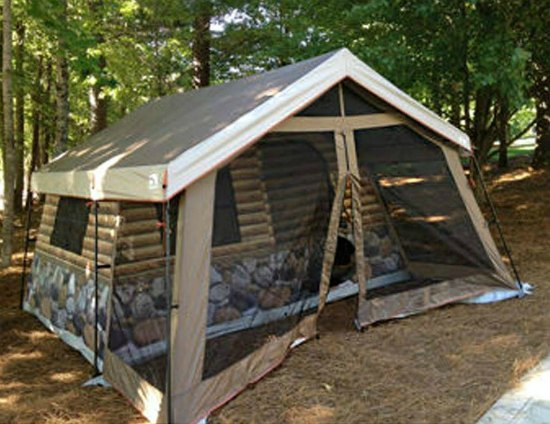 This log cabin tent is just one of many holiday gift ideas.